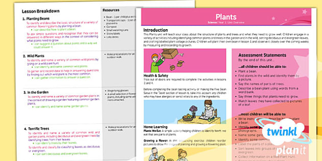 PlanIt - Science Year 1 - Plants Planning Overview - planit