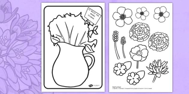Buchet de flori pentru colorat - ziua mamei, mama, 8 martie