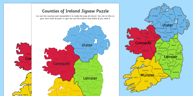 Counties of Ireland Jigsaw Puzzle - gaeilge, counties of Ireland, thirty two, cutting, jigsaw puzzle, re-assembling