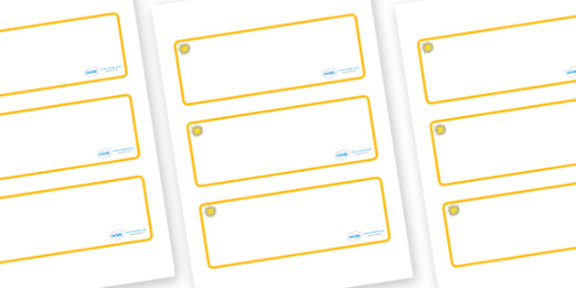 Sunshine Themed Editable Drawer-Peg-Name Labels (Blank) - Themed Classroom Label Templates, Resource Labels, Name Labels, Editable Labels, Drawer Labels, Coat Peg Labels, Peg Label, KS1 Labels, Foundation Labels, Foundation Stage Labels, Teaching Lab