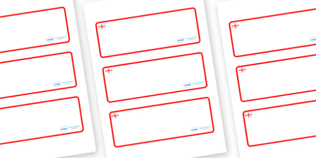 England Themed Editable Drawer-Peg-Name Labels (Blank) - Themed Classroom Label Templates, Resource Labels, Name Labels, Editable Labels, Drawer Labels, Coat Peg Labels, Peg Label, KS1 Labels, Foundation Labels, Foundation Stage Labels, Teaching Labe