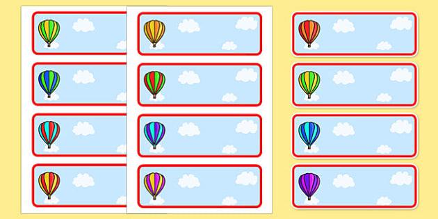 Editable Drawer - Peg - Name Labels (Striped Hot Air Balloons) - Hot Air balloon Label Templates, balloons, Resource Labels, Name Labels, Editable Labels, Drawer Labels, Coat Peg Labels, Peg Label, KS1 Labels, Foundation Labels, Foundation Stage Labe