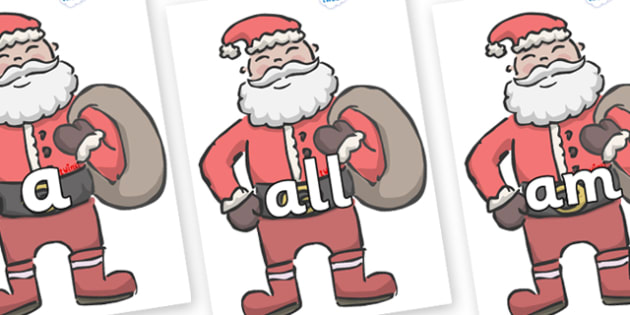 Foundation Stage 2 Keywords on Santas - FS2, CLL, keywords, Communication language and literacy,  Display, Key words, high frequency words, foundation stage literacy, DfES Letters and Sounds, Letters and Sounds, spelling