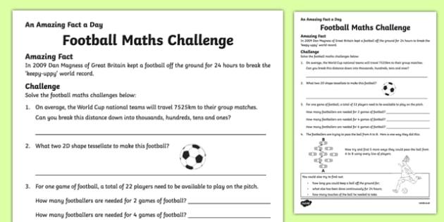 Football Maths Challenge Activity Sheet, worksheet
