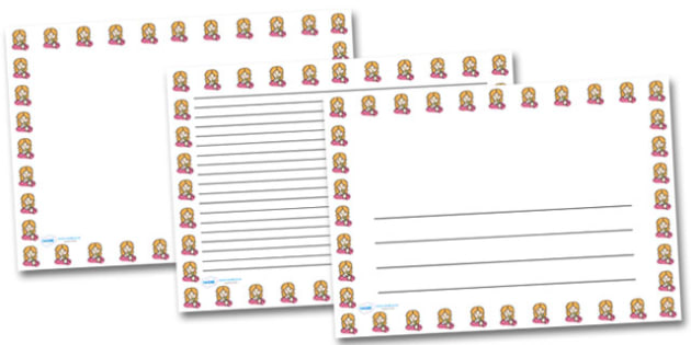 Girl Smelling Flowers Landscape Page Borders- Landscape Page Borders - Page border, border, writing template, writing aid, writing frame, a4 border, template, templates, landscape