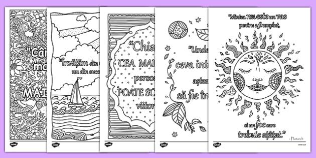Citate inspiraționale - Fișe de colorat