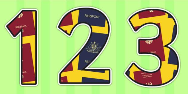 Passport Themed Display Numbers - passport, numbers, display