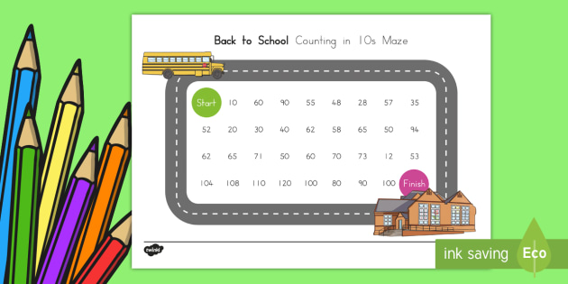 Back to School Counting in 10s Maze Activity Sheet, worksheet