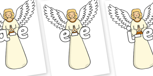 Modifying E Letters on Christmas Angels - Modifying E, letters, modify, Phase 5, Phase five, alternative spellings for phonemes, DfES letters and Sounds