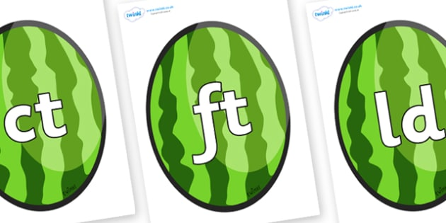 Final Letter Blends on Melons (Vertical) - Final Letters, final letter, letter blend, letter blends, consonant, consonants, digraph, trigraph, literacy, alphabet, letters, foundation stage literacy