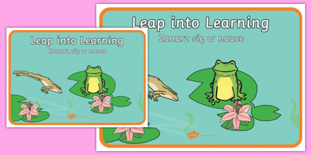 Leap Into Learning Motivational Poster Polish Translation - polish, leap into learning, motivational poster, learning poster, learning poster, display poster, classroom poster