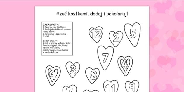 Gra planszowa Walentynki po polsku - luty, zima