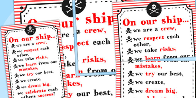 On Our Ship We Classroom Behaviour Poster - posters, display
