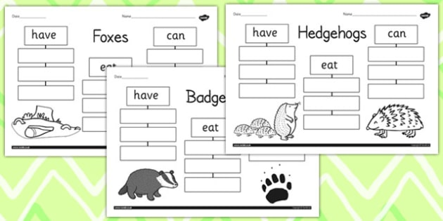 Woodland Animals Have Eat Can Writing Frames - writing aid, write