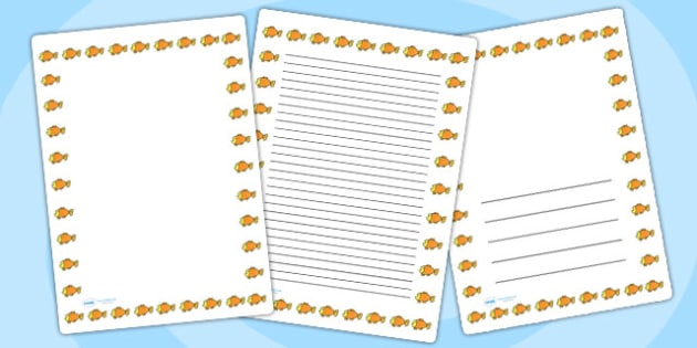 Goldfish Page Borders - goldfish, page borders, borders, writing