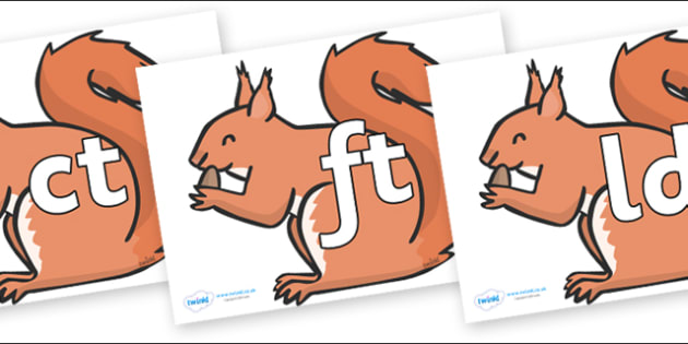 Final Letter Blends on Red Squirrels - Final Letters, final letter, letter blend, letter blends, consonant, consonants, digraph, trigraph, literacy, alphabet, letters, foundation stage literacy