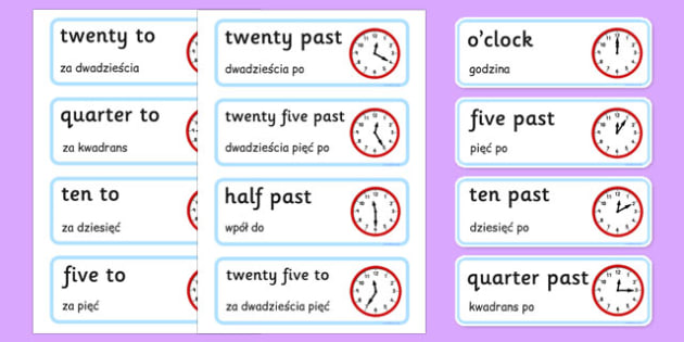 Time Word Cards Polish Translation - polish, Time, Display, Word card, flashcard, Clock, O Clock, Quarter To Quarter Past, Hour, Minute, Half Past, Analogue, digital, hands, face