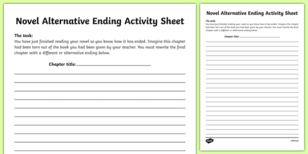Novel Alternative Ending Activity Sheet-Irish, worksheet