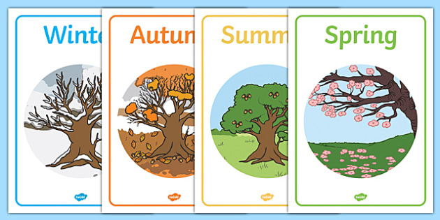 Four Seasons Display Posters - Seasons, season, autumn, winter, spring, summer, fall, seasons activity, seasons display, four seasons, foundation stage, topic
