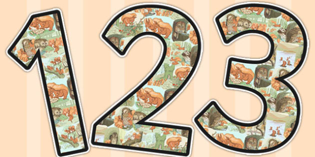The Tale of Squirrel Nutkin Themed A4 Display Numbers - squirrel nutkin