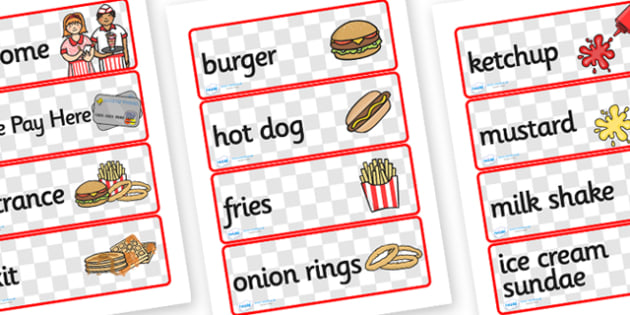 American Diner Role Play Labels - american diner, american, diner, role play, labels, american diner labels, american diner role play, role play labels