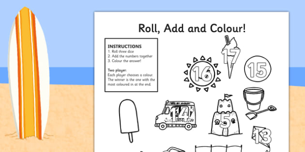 Summer Themed Three Dice Roll and Colour Worksheets - summer