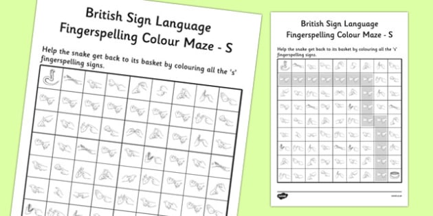 British Sign Language Left Handed Fingerspelling Colour Maze S