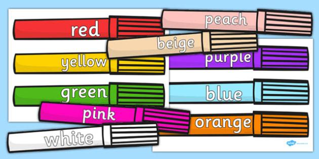 Colour Words on Felt tips - colour, words, felt tips, felt, tips, pens, colouring