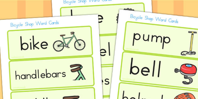 Bicycle Shop Word Cards - bicycle, bicycle shop, role play, cards