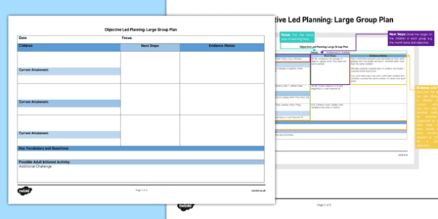 Large Group Objective Led Planning Template - big, whole, class, safety, health, ideas, writing, guide, plan, eyfs, early years, ks1, key stage,