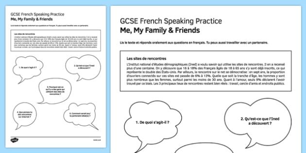 Les sites de rencontres Speaking Practice Activity Sheet - French, worksheet