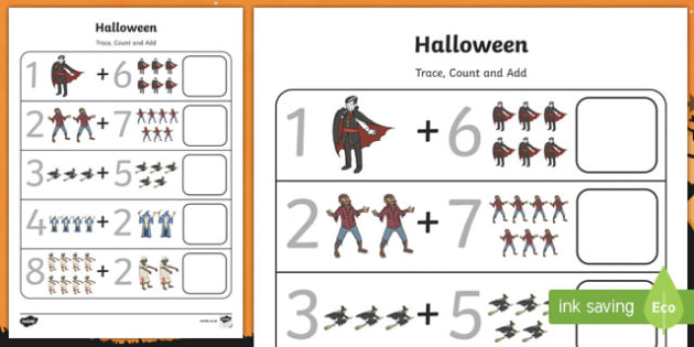 Halloween 0-10 Count and Add Activity Sheet, worksheet