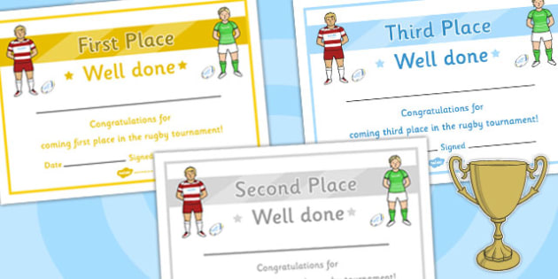 Rugby Tournament Certificates - rugby, tournament, certificates