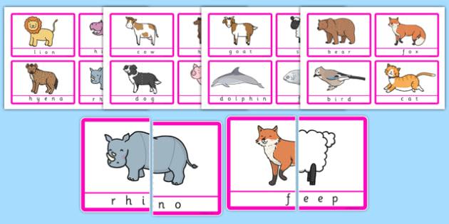 Animal Halves Matching Game - animal, halves, matching game, match, game