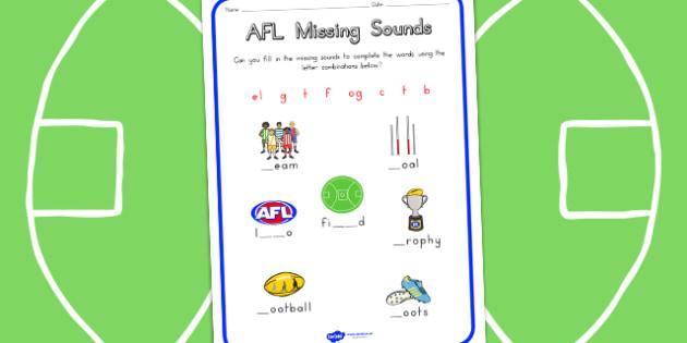 AFL Australian Football League Missing Sounds Worksheet - sport