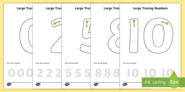 Large Tracing Number Formation Worksheets Straight 1 - tracing