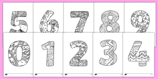 Mindfulness Colouring Numbers - mindfulness, colouring, numbers