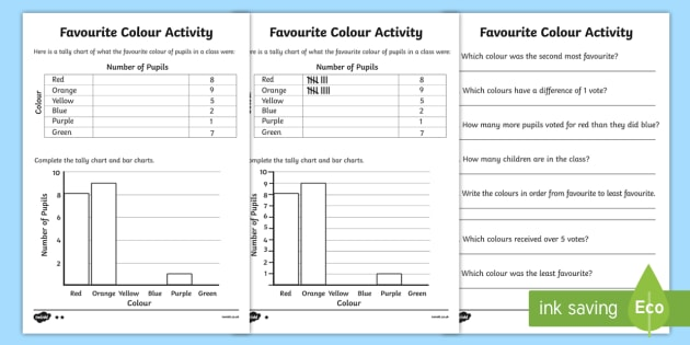 Favourite Colour Tally and Bar Chart Worksheets - tally chart worksheets, bar chart worksheets, bar charts, favourite colour worksheets, ks2 numeracy