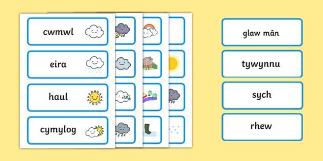 Weather Word Cards Welsh Translation - seasons, visual aid, welsh