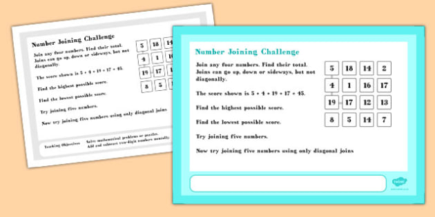Number Joining Maths Challenge A4 Display Posters - challenge