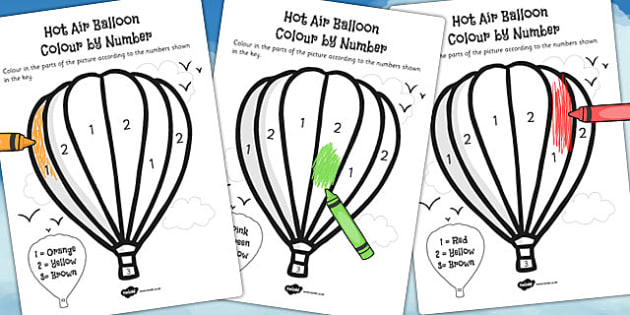 Hot Air Balloon Colour by Number - colour, number, balloon, hot