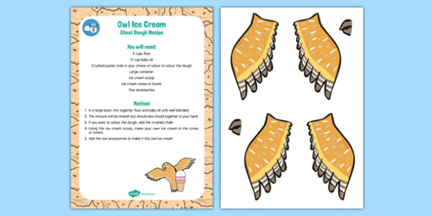Owl Ice Cream Cloud Dough Recipe to Support Teaching on The Gruffalo - The Gruffalo, EYFS