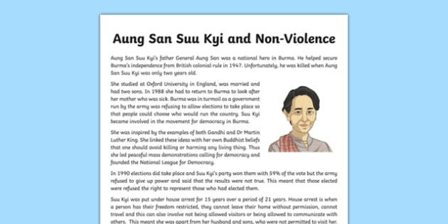 Aung San Suu Kyi and Non-Violence Information Sheet