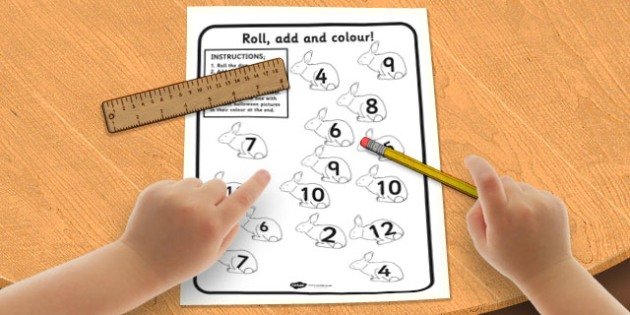 Spring Colour and Roll Worksheet - spring, colour, roll, sheet