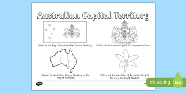 Australian Capital Territory Colouring Sheet - australia, colouring, flag, coat of arms, floral emblem, map, Australia, Art, Geography, states, territories