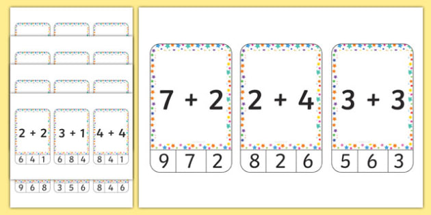 Multicoloured Stars Themed Addition to 10 Peg Activity - addition, peg, activity