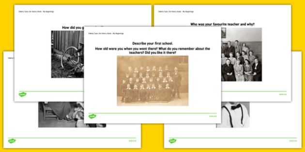 Elderly Care Life History Book School Days Picture Prompts - Elderly, Reminiscence, Care Homes, Life History Books