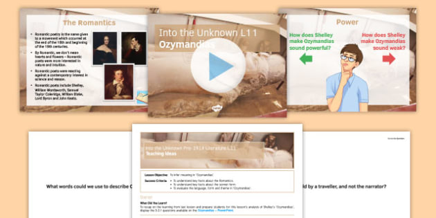 Into the Unknown Pre-1914 Literature Lesson Pack 11: Ozymandias