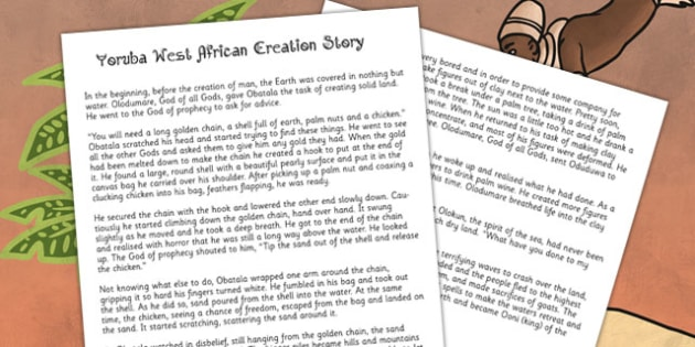 Kingdom of Benin: Yoruba Creation Story Print Out