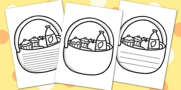 Picnic Basket Writing Frames - picnic, write, writing template